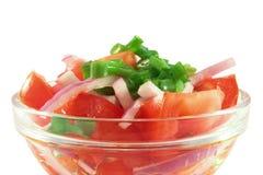 Salade van tomaten en uien Royalty-vrije Stock Afbeeldingen