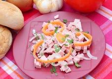 Salade van worst royalty-vrije stock afbeelding