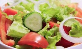 Salade verte avec des concombres de tomates en gros plan photographie stock libre de droits