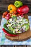 Salade verte avec le radis, l'oeuf et l'oignon rouge Images libres de droits