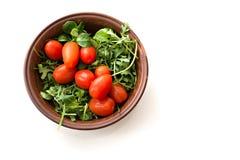 Salade verte d'arugula et tomates rouges sur le fond blanc dans W Image libre de droits