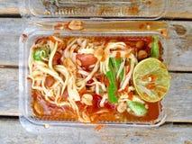 Salade verte de papaye, nourriture thaïlandaise de Somtum Photos stock
