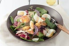 Salade verte fraîche avec des oeufs à la coque photo libre de droits