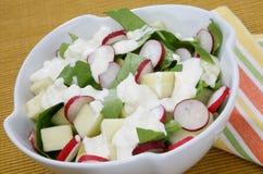 Salade verte fraîche avec la pomme Photo stock