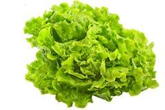 Salade verte fraîche d'iceberg d'isolement sur le fond blanc Photos libres de droits