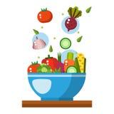 Saladeillustratie Saladekom in vlakke stijl Concepten vers, natuurlijk, gezond voedsel Plantaardige salade in een plaat Stock Afbeelding