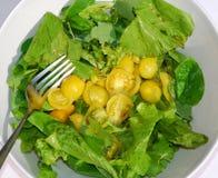 Saladier jaune de tomate avec la fourchette Image libre de droits
