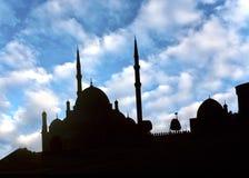 Saladin Citadel in Kaïro in donkere schaduw Stock Afbeeldingen