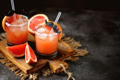 ` Salado del perro del ` del cóctel del alcohol con la vodka, el pomelo fresco, la sal del mar y el hielo imagenes de archivo