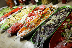 Salads. Different salads on a choice at restaurant Stock Photography
