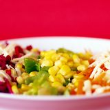 Salads. Mixed salads on red, space for messages Stock Image