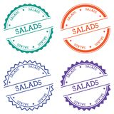 Salads badge isolated on white background. Flat style round label with text. Circular emblem vector illustration Stock Image