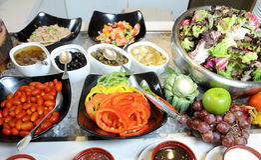 Salads at a buffet bar Royalty Free Stock Photo