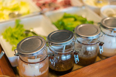 Salads on buffet table at restaurant . Stock Photo