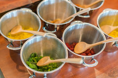 Salads on buffet table at restaurant . Stock Photos