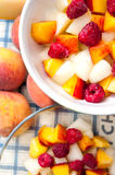 Salads with fruits. Fruit salads in bowls up view Royalty Free Stock Image