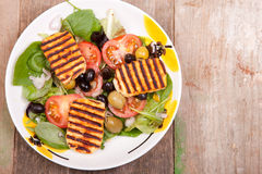 Salads with halloumi cheese Stock Image