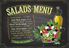 Salads menu chalkboard design, hand drawn illustration with greek salad. Salads menu chalkboard design concept, hand drawn illustration with greek salad and Royalty Free Stock Images