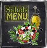 Salads menu chalkboard  design. Stock Photography