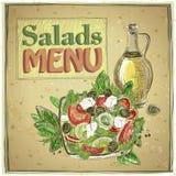 Salads menu design, vintage illustration Stock Photo