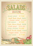 Salads menu list vector design concept. With assorted vegetables, hand drawn illustration with copy space for text Royalty Free Stock Photos