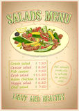 Salads menu list vector design. Vegetables with meat salad  hand drawn illustration with copy space Stock Photos