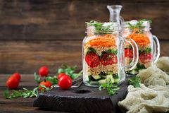 Salads with quinoa, arugula, radish, tomatoes and cucumber stock photography