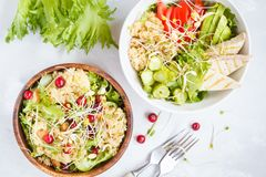 Salads with quinoa and vegetables stock image