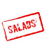 Salads red rubber stamp isolated on white. Salads red rubber stamp isolated on white background. Grunge rectangular seal with text, ink texture and splatter and Royalty Free Stock Photography