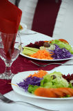 Salads on Restaurant table Stock Images