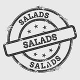 Salads rubber stamp isolated on white background. Grunge round seal with text, ink texture and splatter and blots, vector illustration Stock Images