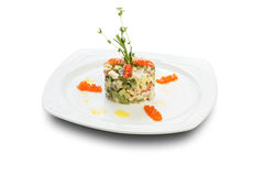 Salads with shrimps and caviar Stock Photo