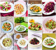 Salads. Twelve different salads served, collage Stock Photo