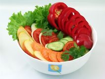 Salads from vegetables royalty free stock photos