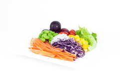 Salads, vegetables and fruits. Royalty Free Stock Photography