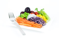 Salads, vegetables and fruits. Royalty Free Stock Image