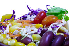 Salads, vegetables and fruits. Stock Images