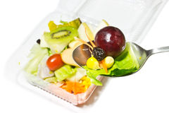 Salads, vegetables and fruits Royalty Free Stock Image