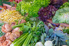 Salads and vegetables at a market Royalty Free Stock Photos