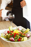 Salads and wine Stock Photo