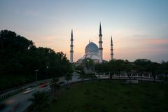 Salahuddin Abdul Aziz Shah Mosque also known as the Blue Mosque. Malaysia during sunrise located at Shah Alam, Selangor, Malaysia Royalty Free Stock Image