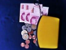 Salaire de pièces de monnaie de portefeuille de la Thaïlande d'argent Images stock