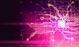 Salaire fantastique de cyber de Cyberpunk de fond d'absract de circuits de pointe Photos libres de droits