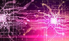 Salaire fantastique de cyber de Cyberpunk de fond d'absract de circuits de pointe Images stock