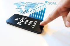 Salaire par concept de clic Photographie stock