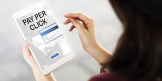 Salaire par concept de graphique de paiement de site Web de login de clic photographie stock
