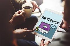 Salaire par concept de marketing en ligne de vue Photos libres de droits