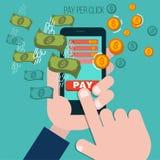 Salaire par concept mobile de la publicité de clic illustration libre de droits