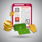 Salaire par icônes de clic avec les photos lumineuses Photographie stock