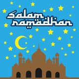 Salam Ramadhan Vector Wish Card With Mosque At Night Royalty Free Stock Image